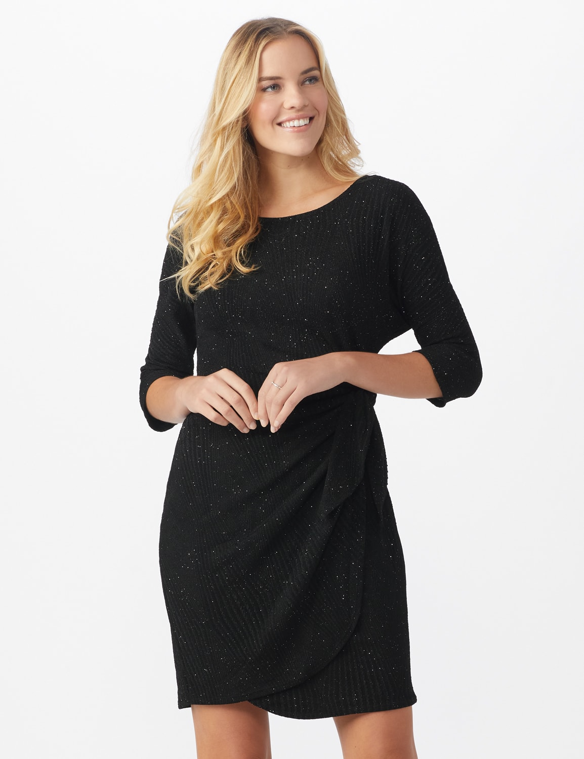 Glitter Knit  Wrap Dress - Misses - Black - Front