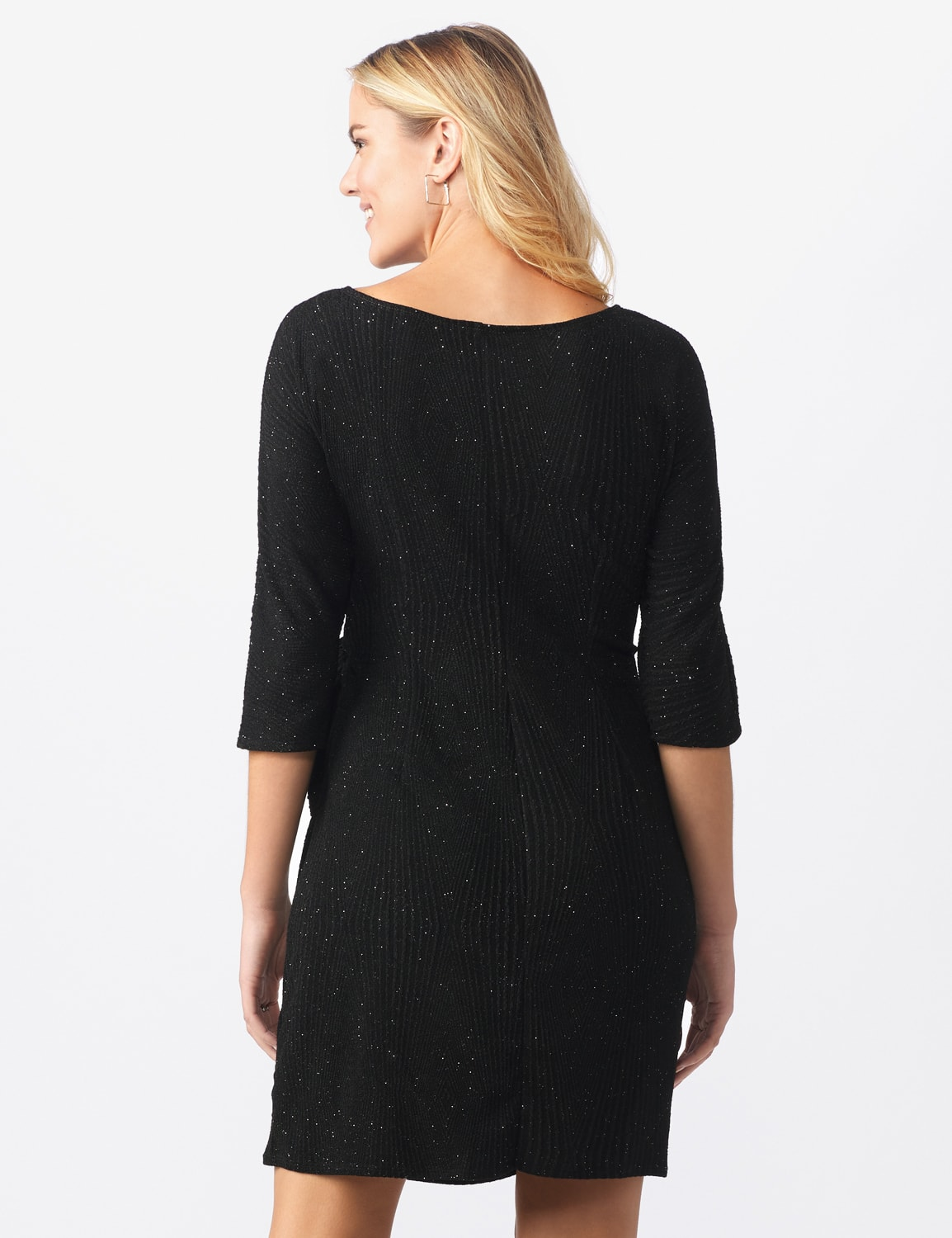 Glitter Knit  Wrap Dress - Misses - Black - Back