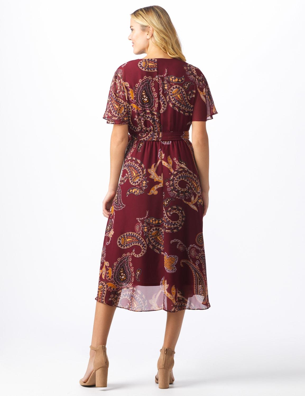 Paisley Wrap Midi Dress - Misses - Burgundy/mustard - Back