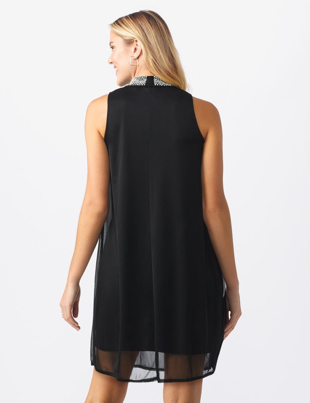 Beaded Mock Neck Dress - Misses - black - Back