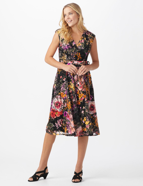 Wrap Rose Lace Dress - Misses - Black/coral - Front