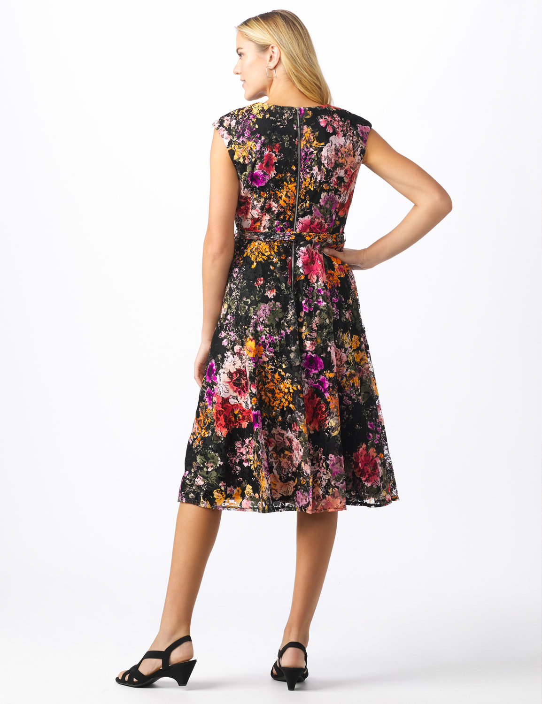 Wrap Rose Lace Dress - Misses - Black/coral - Back