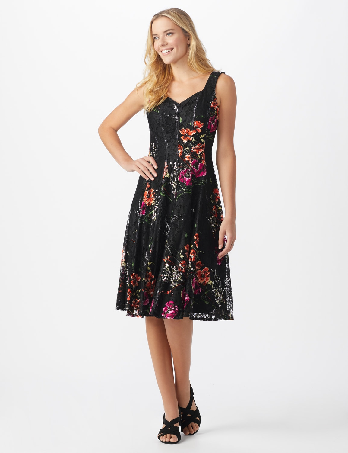 Floral Lace Fit and Flare Dress - Misses - Black/tangerine - Front