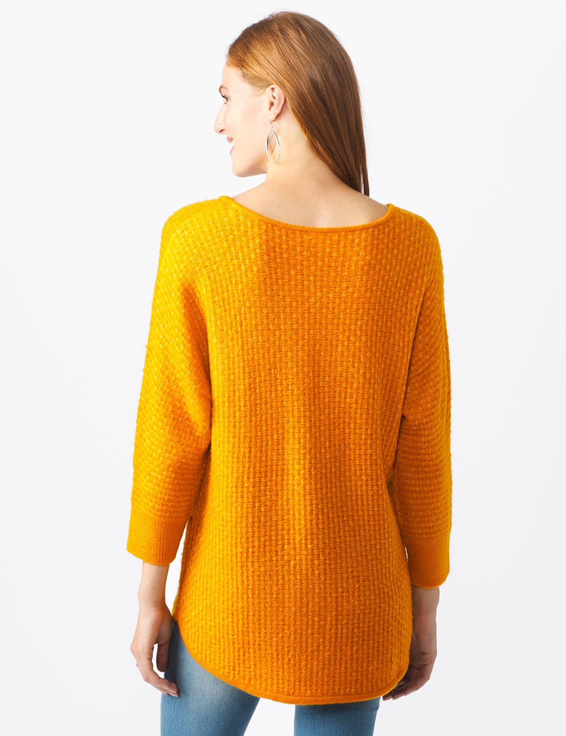 Westport Basketweave Stitch Curved Hem Sweater - Misses - Acorn Squash - Back