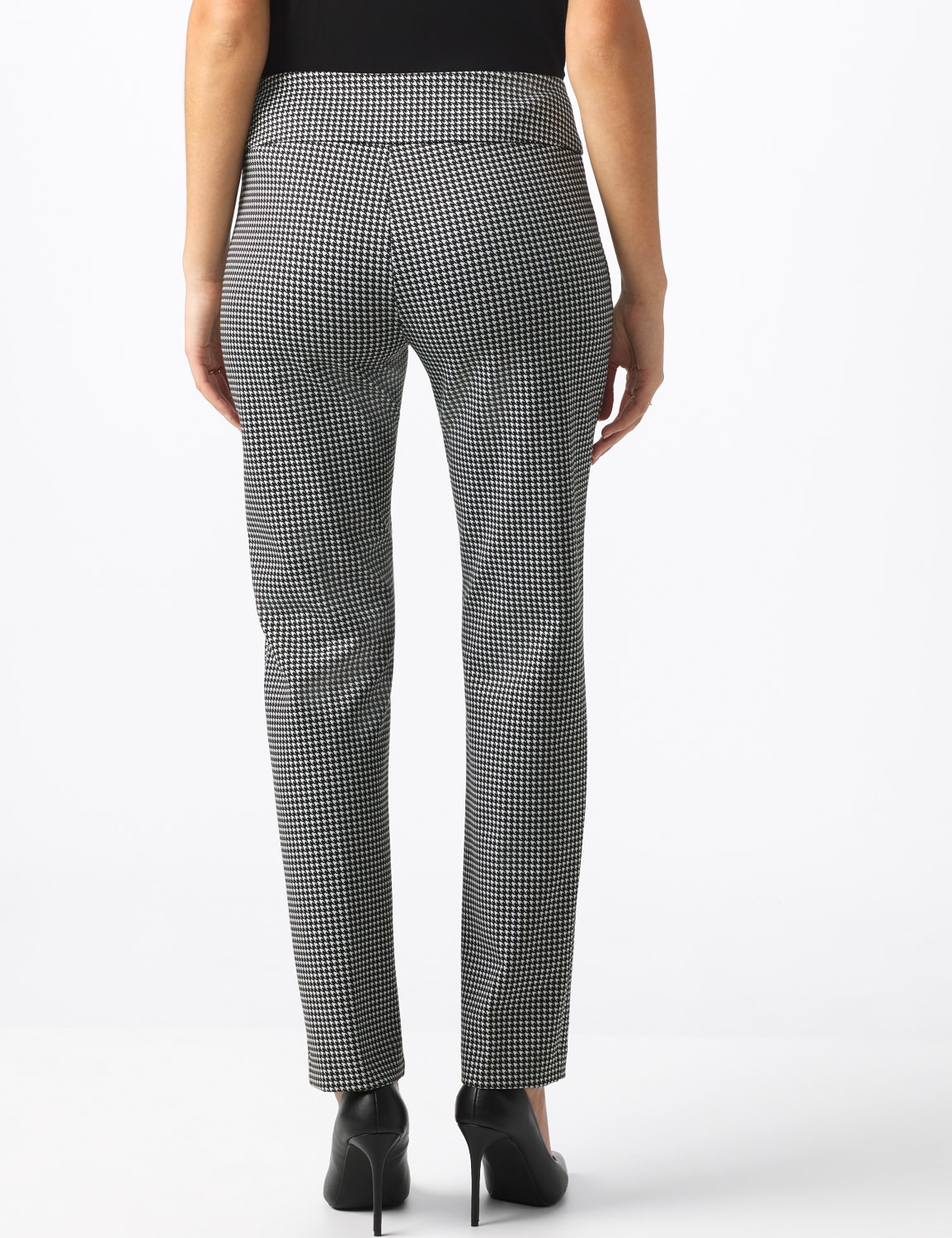 Pull On Houndstooth Print Compression Pant - Black/Sugar swizzle - Back