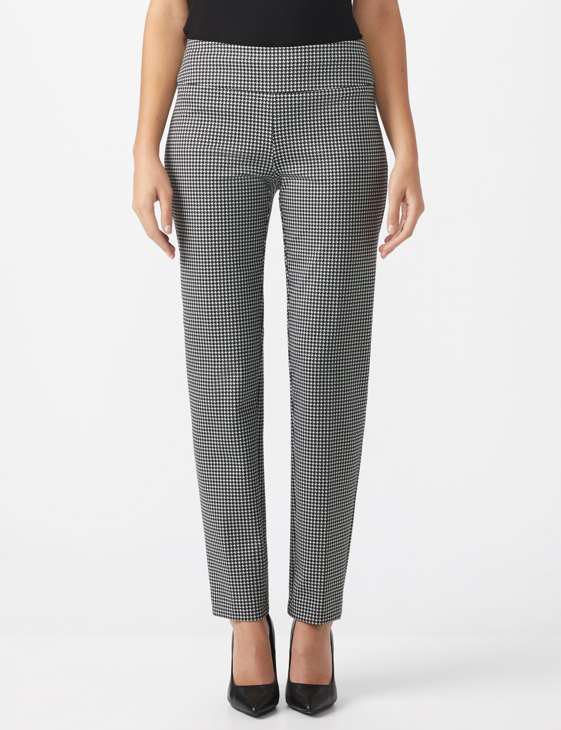 Pull On Houndstooth Print Compression Pant - Black/Sugar swizzle - Front