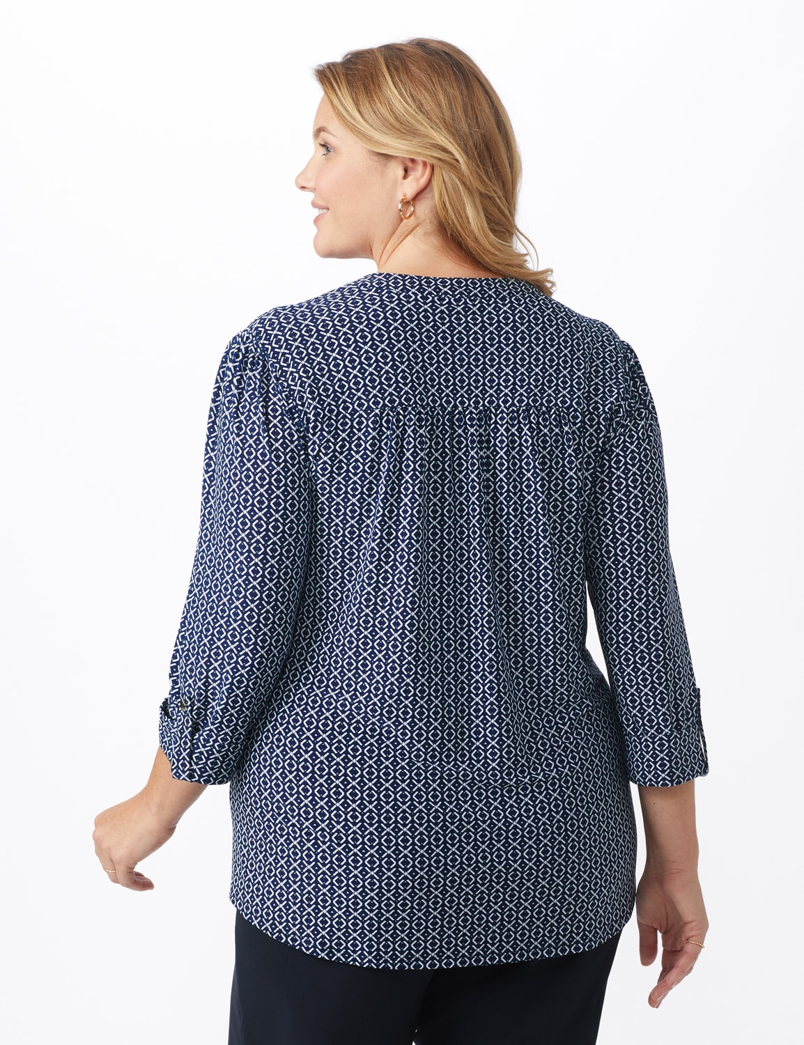 Geo Pintuck Knit Popover - Navy - Back