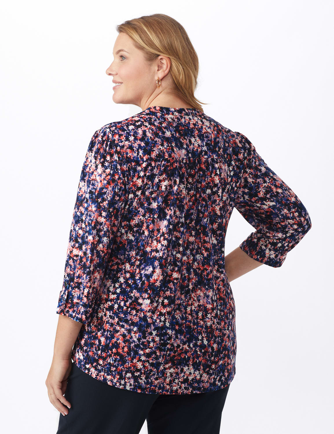 Small Floral Pintuck Knit Popover - Plus - Navy/Pink - Back