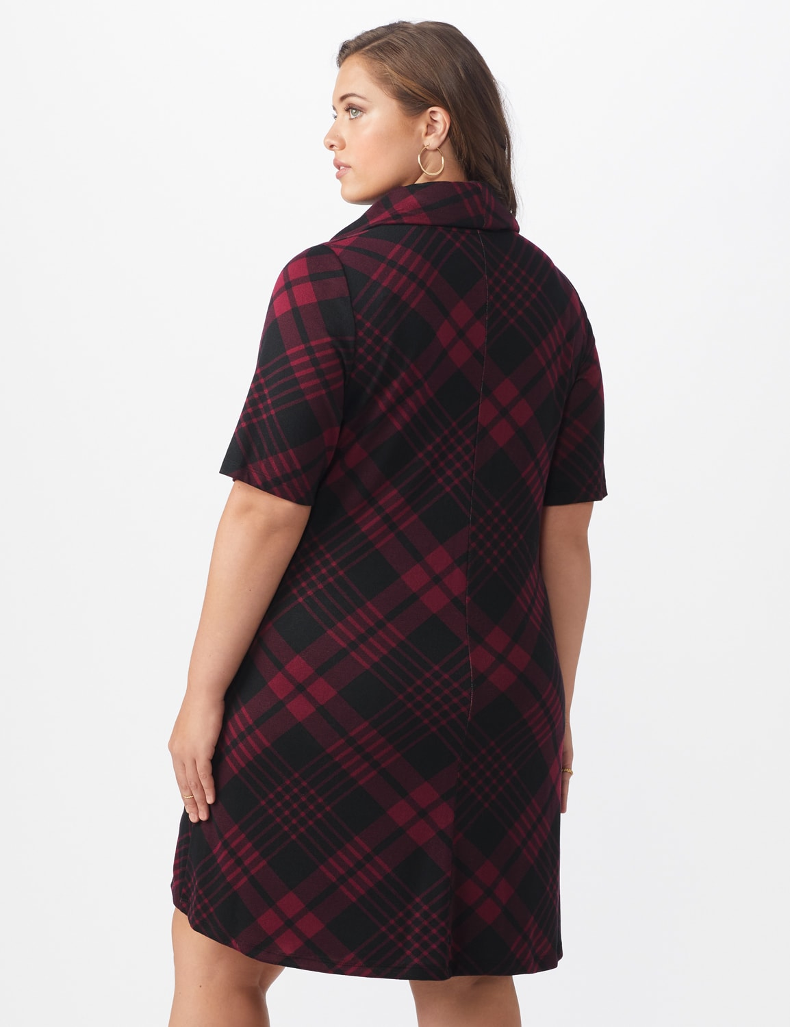Plaid Cowl Neck Dress - Plus - Black/wine - Back