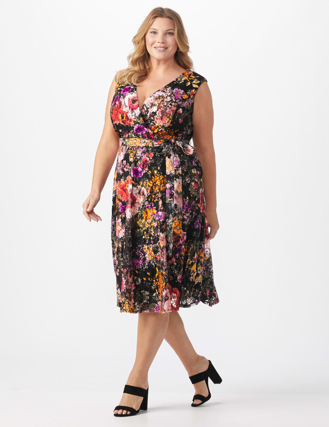 Wrap Rose Lace Dress - Plus - Black/coral - Front
