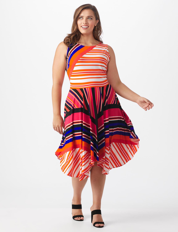 Orange Zest Striped Dress - Plus - Black/Rust - Front