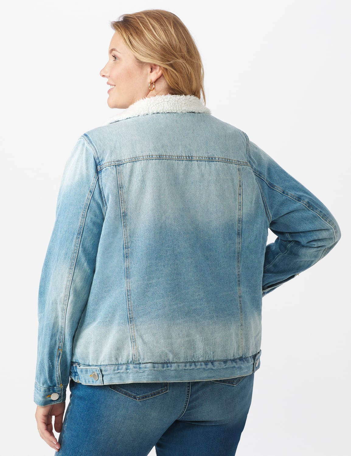 Denim Trucker Jacket with Sherpa Lining - Light wash - Back