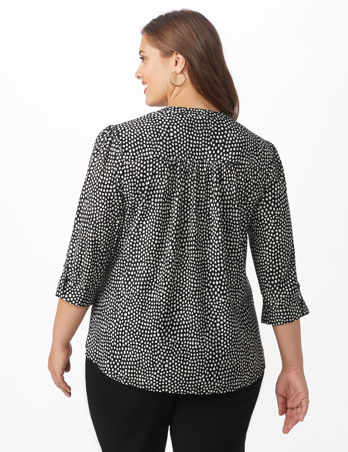 Mixed Dot Pintuck Knit Popover - Plus - Black/White - Back