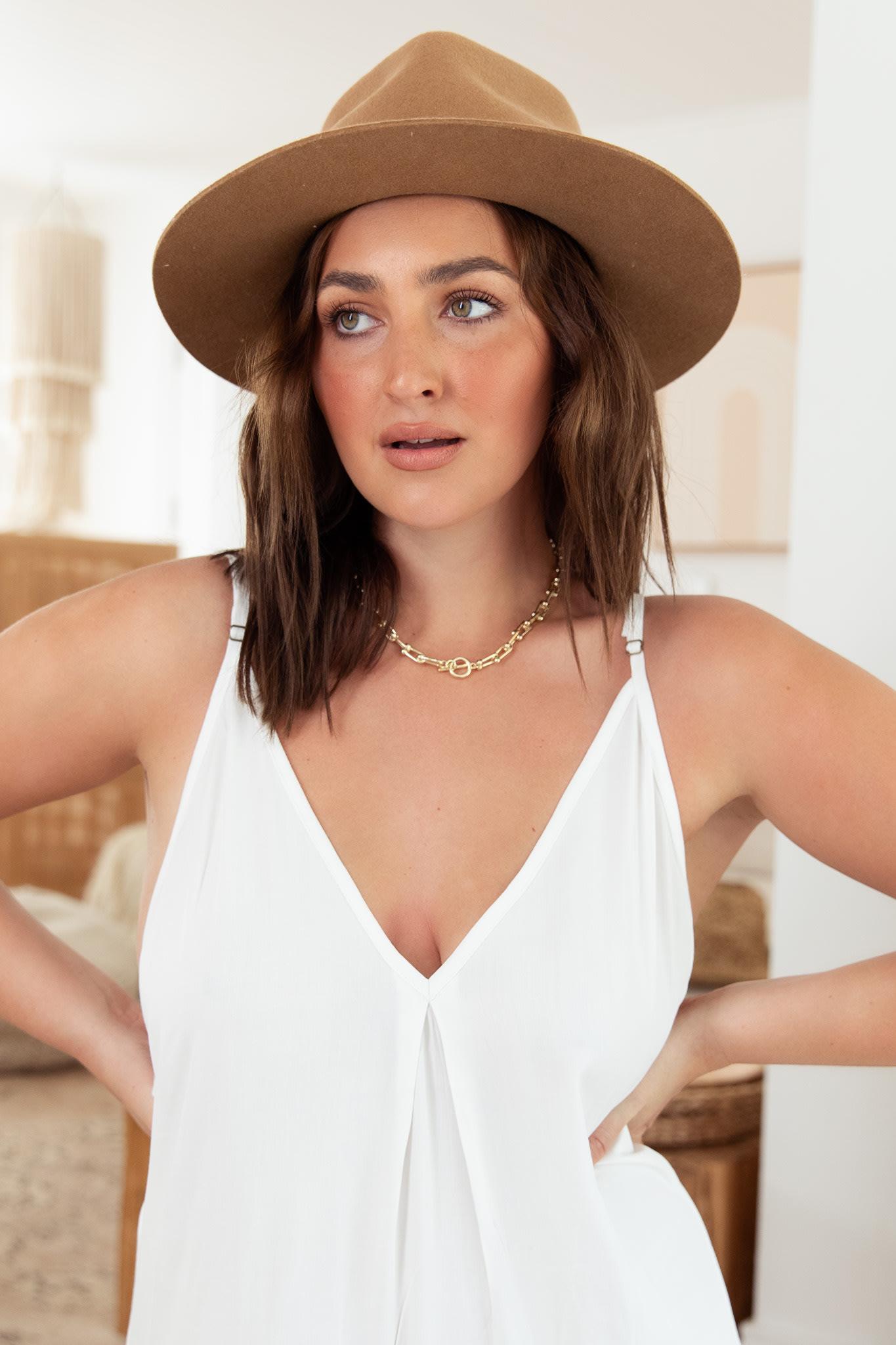 Curve Toscana Dress - Plus - White - Back