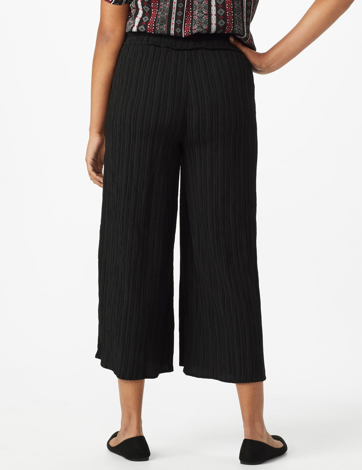 Solid Cropped Palazzo Pant with Elastic Waistband - Misses - Black - Back