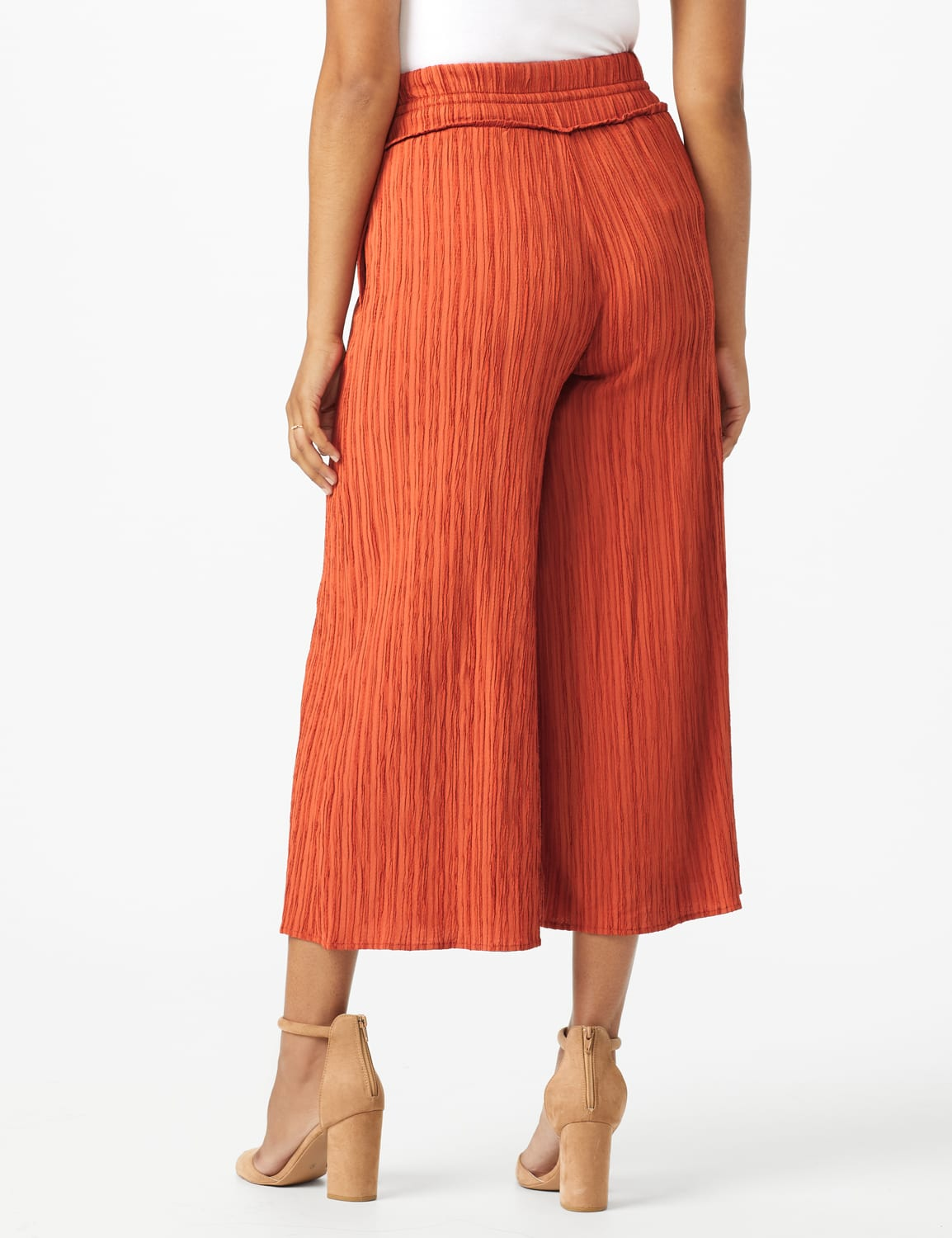 Solid Cropped Palazzo Pant with Elastic Waistband - Misses - Cinnabar - Back