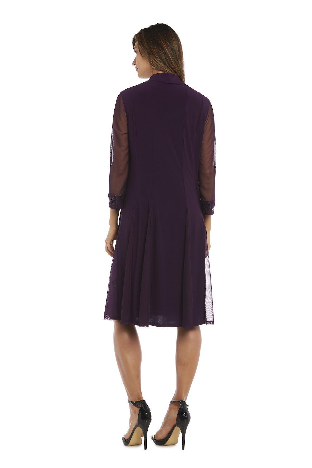 Embellished Shift Dress with Sheer Jacket - Plum - Back