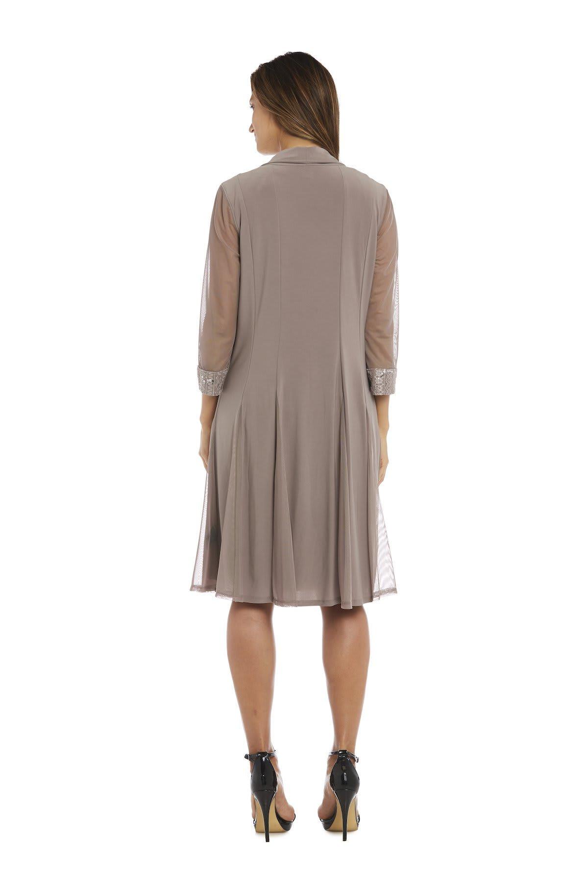 Embellished Shift Dress with Sheer Jacket - Taupe - Back