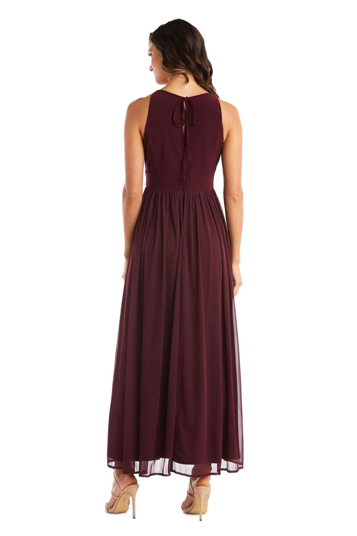 Maxi Dress with Keyhole Cutout, Halterneck and Flowing Skirt - Burgundy - Back