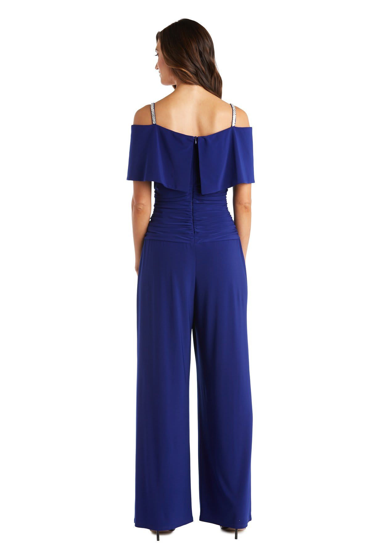 One Piece Shoulder Ruched Bodice Jumpsuit - Electric Blue - Back