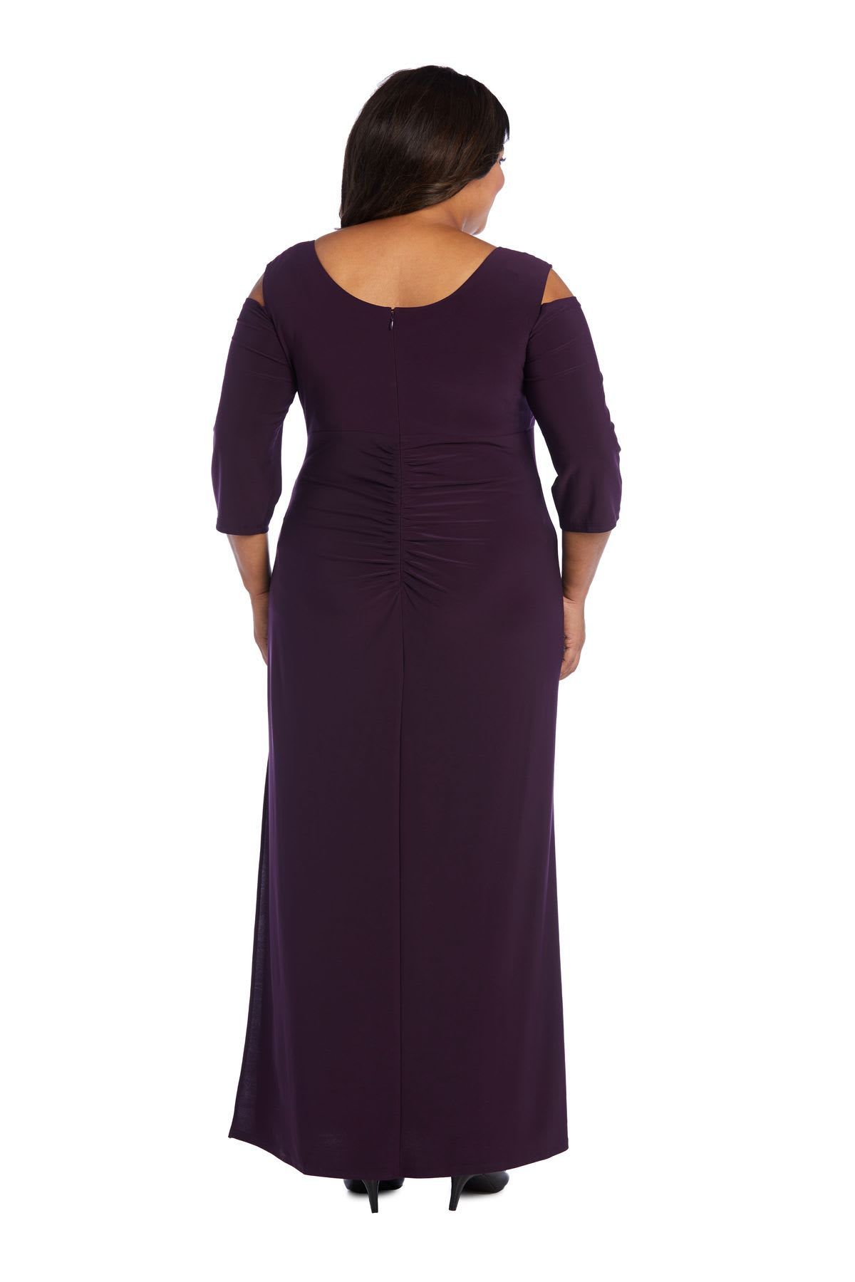 Column Evening Gown with Shoulder Cutouts and Diamante Embellishments - Plus - Plum - Back