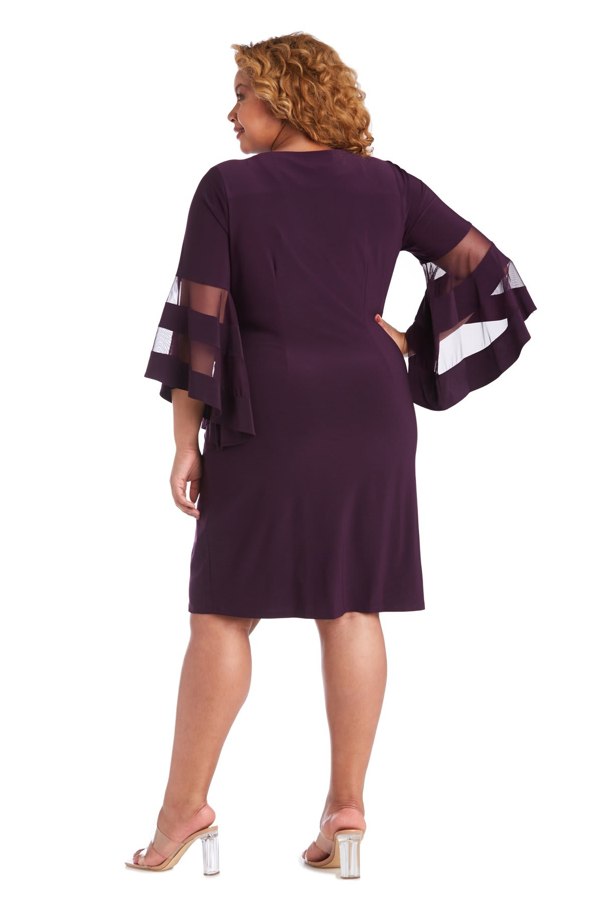 Illusion Bell Sleeve Dress with Rush Detail at Waist - Plus - Plum - Back