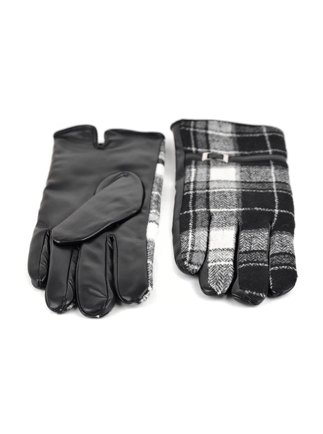 Plaid Faux Leather Touch Screen Gloves - Plaid - Back