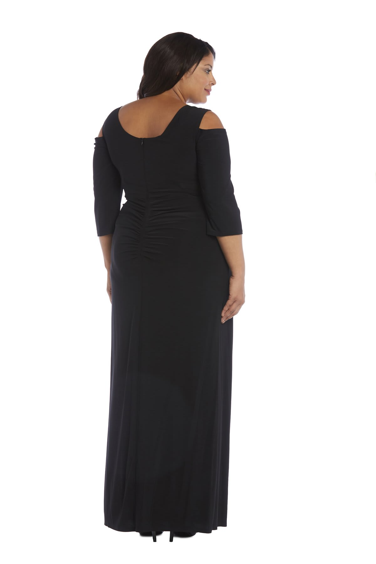 Column Evening Gown with Shoulder Cutouts and Diamante Embellishments - Plus - Black - Back