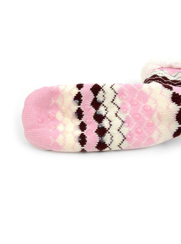 Fair Isle Sherpa Lined Slipper Socks - Pink - Back