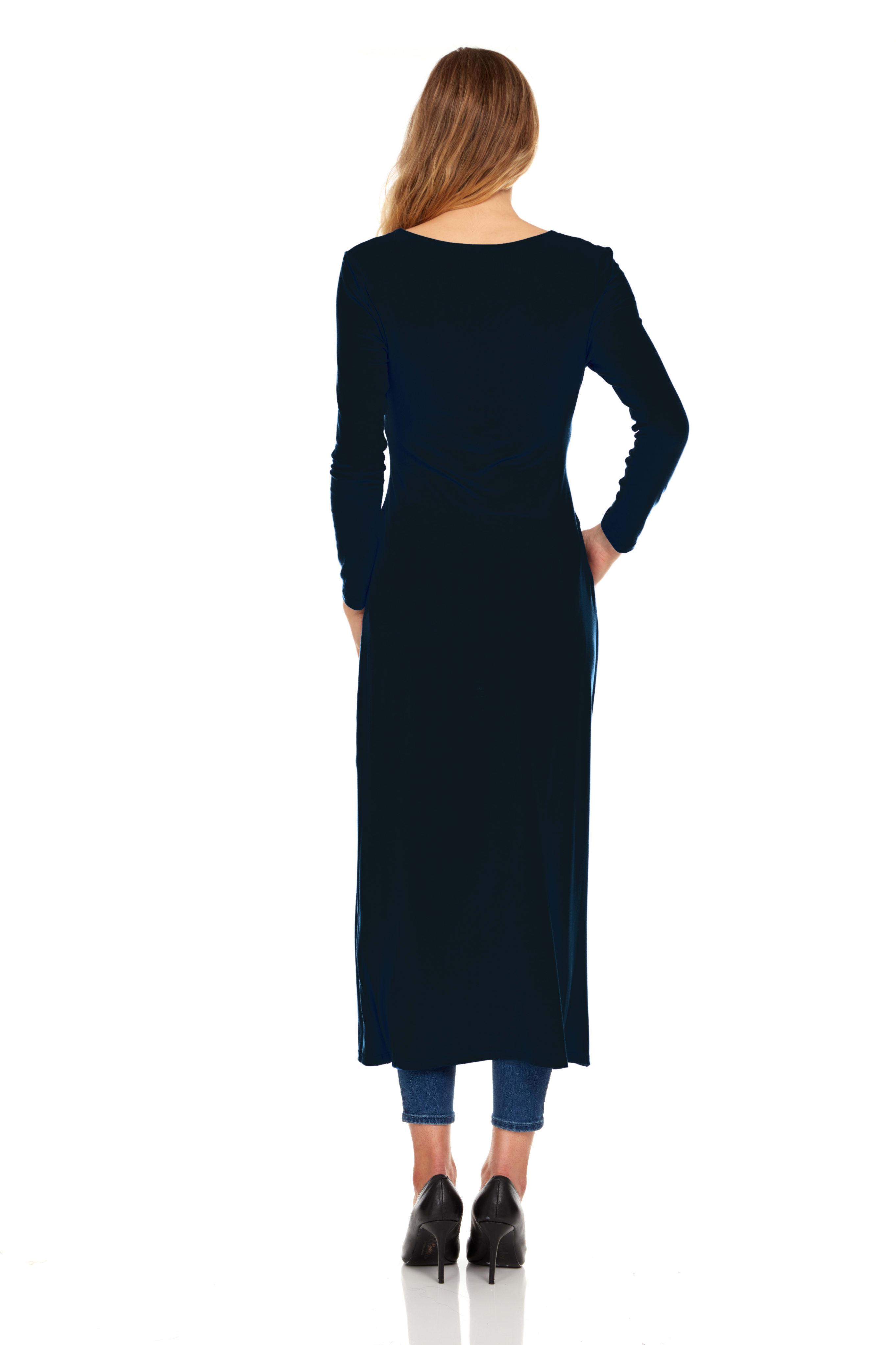 Front Slit Long Sleeve Shirt with Pockets - Black - Back