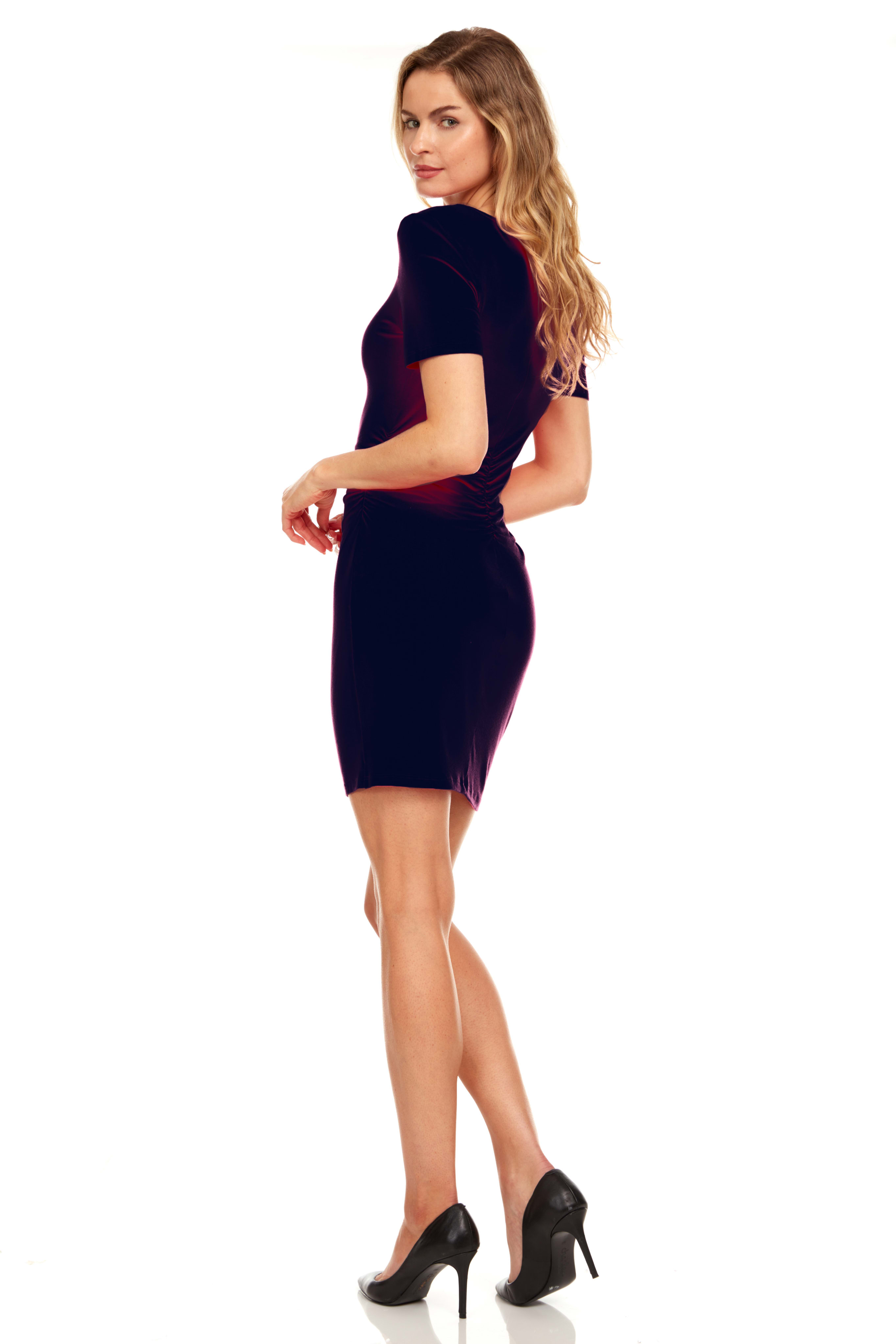 Rouched side Midi Dress with Criss-cross Detail - Navy - Back