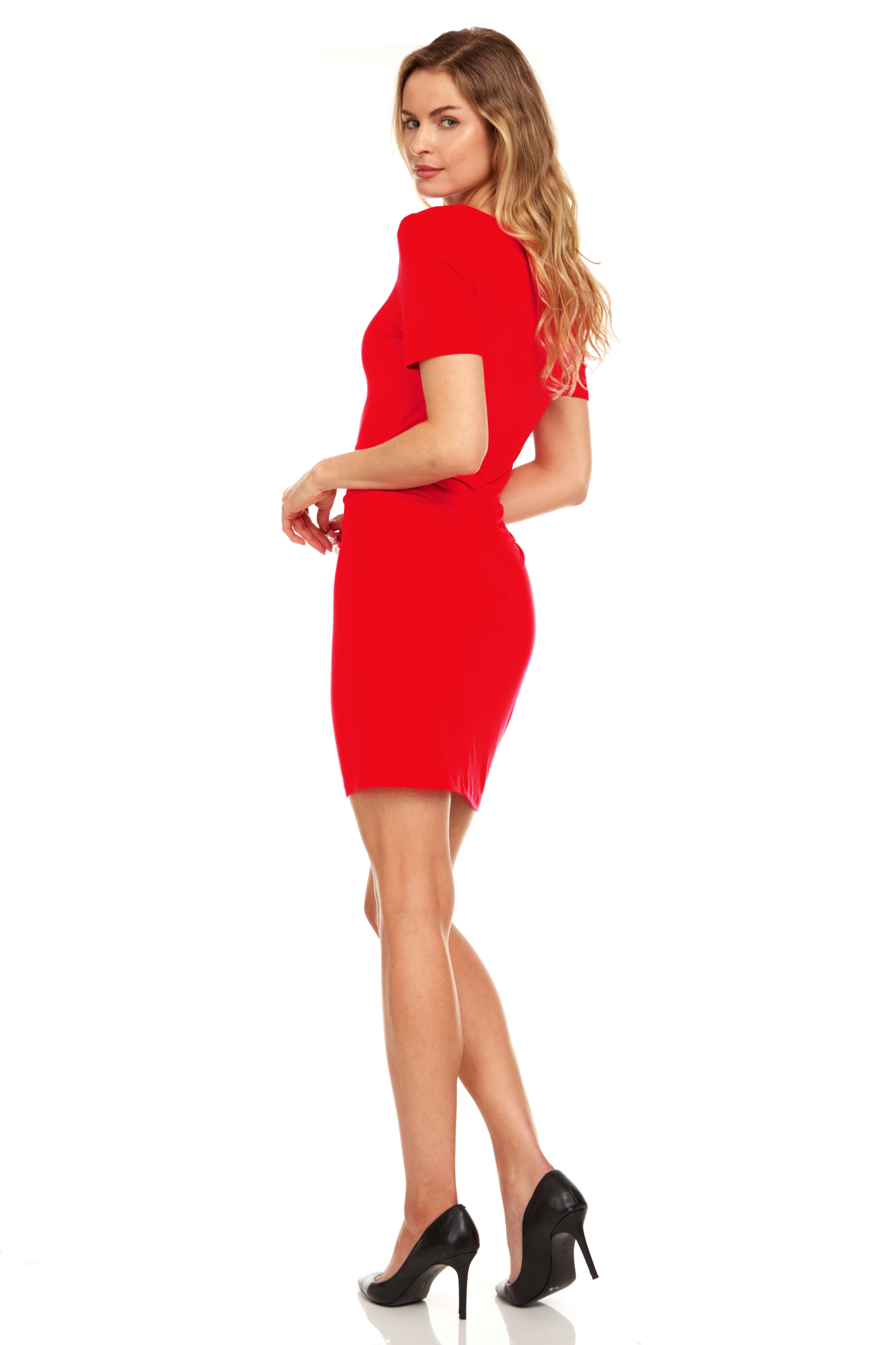 Rouched side Midi Dress with Criss-cross Detail - Red - Back