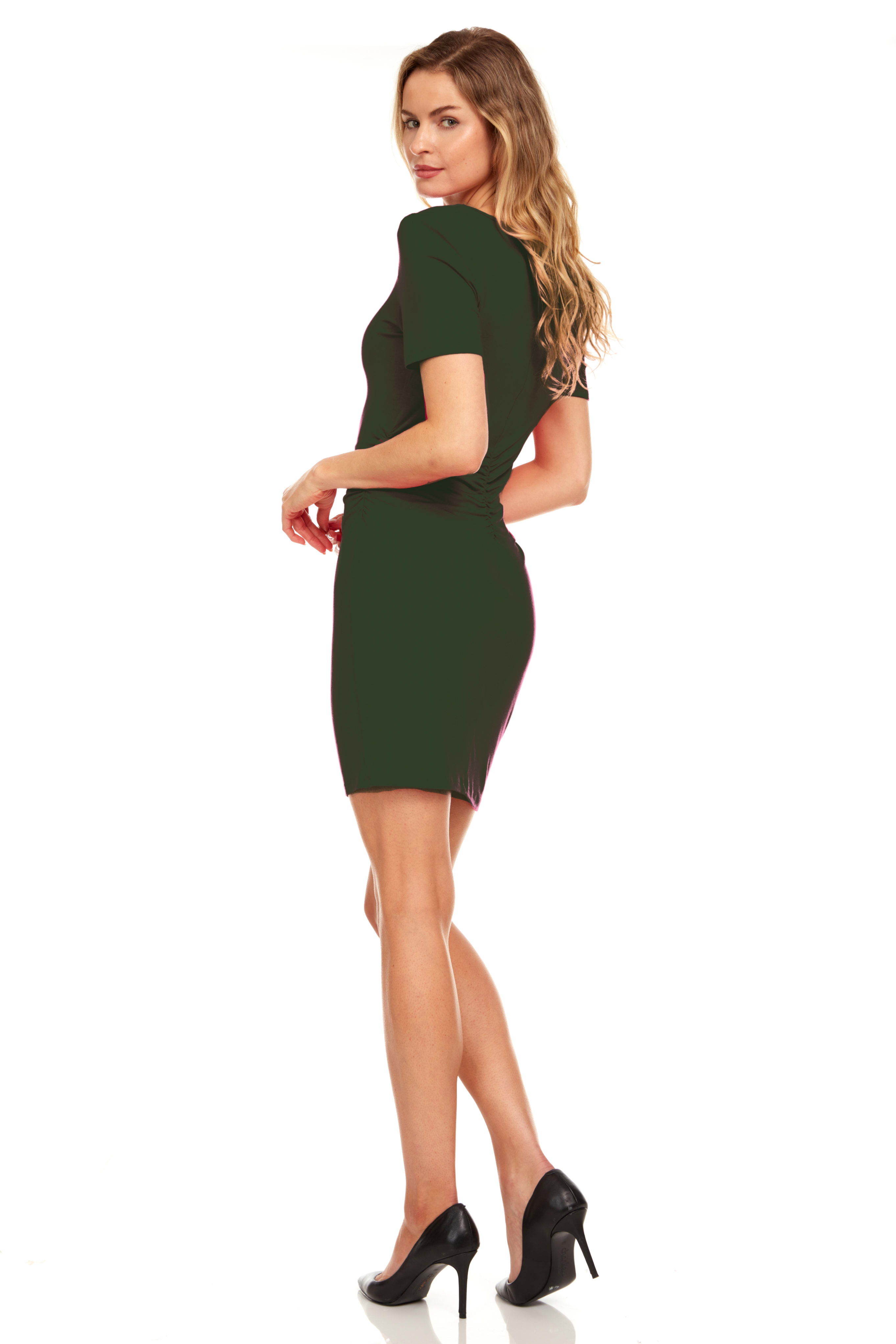 Rouched side Midi Dress with Criss-cross Detail - Olive - Back