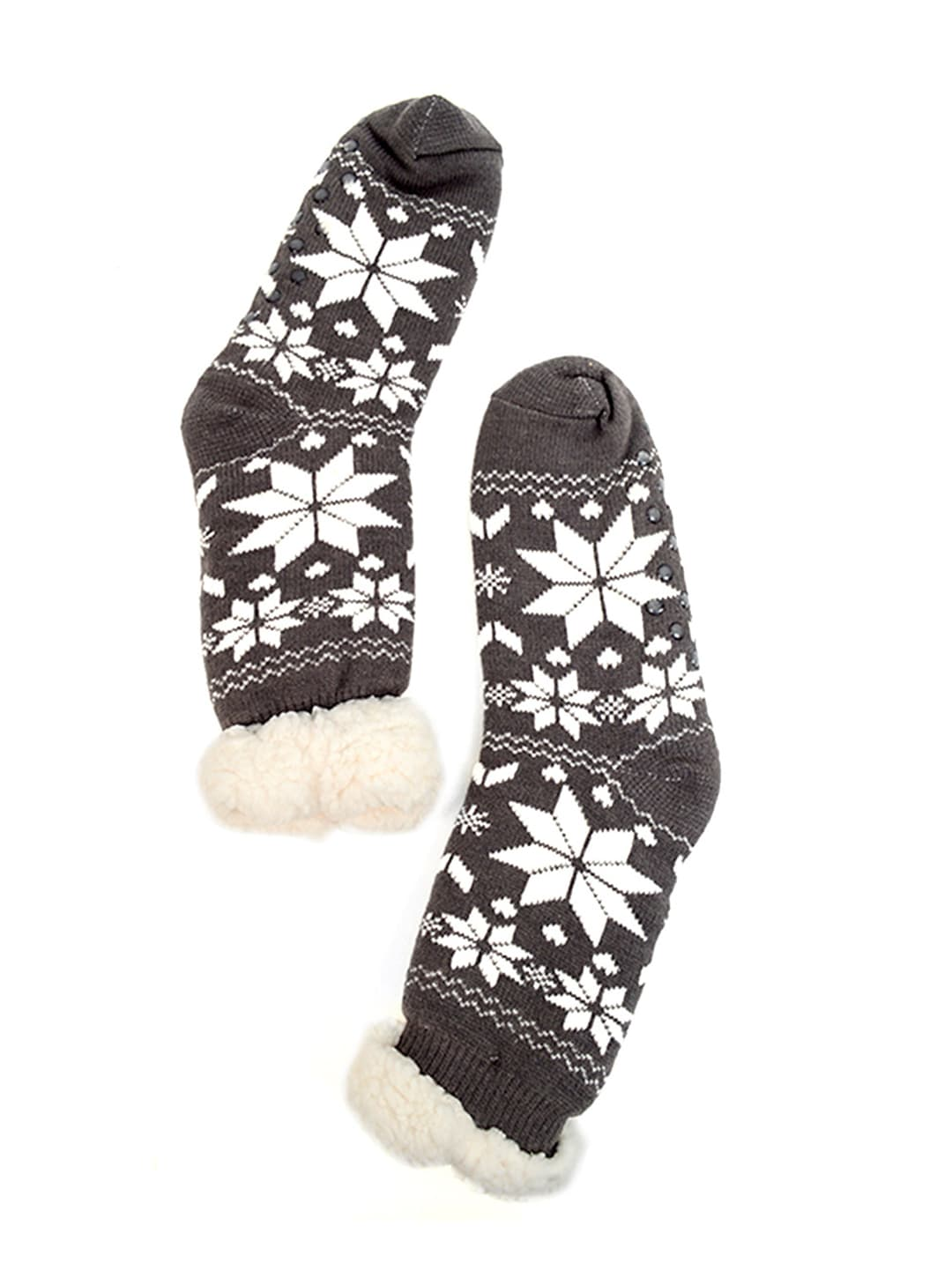 Snowflakes Sherpa Lined Slipper Socks - Grey - Back
