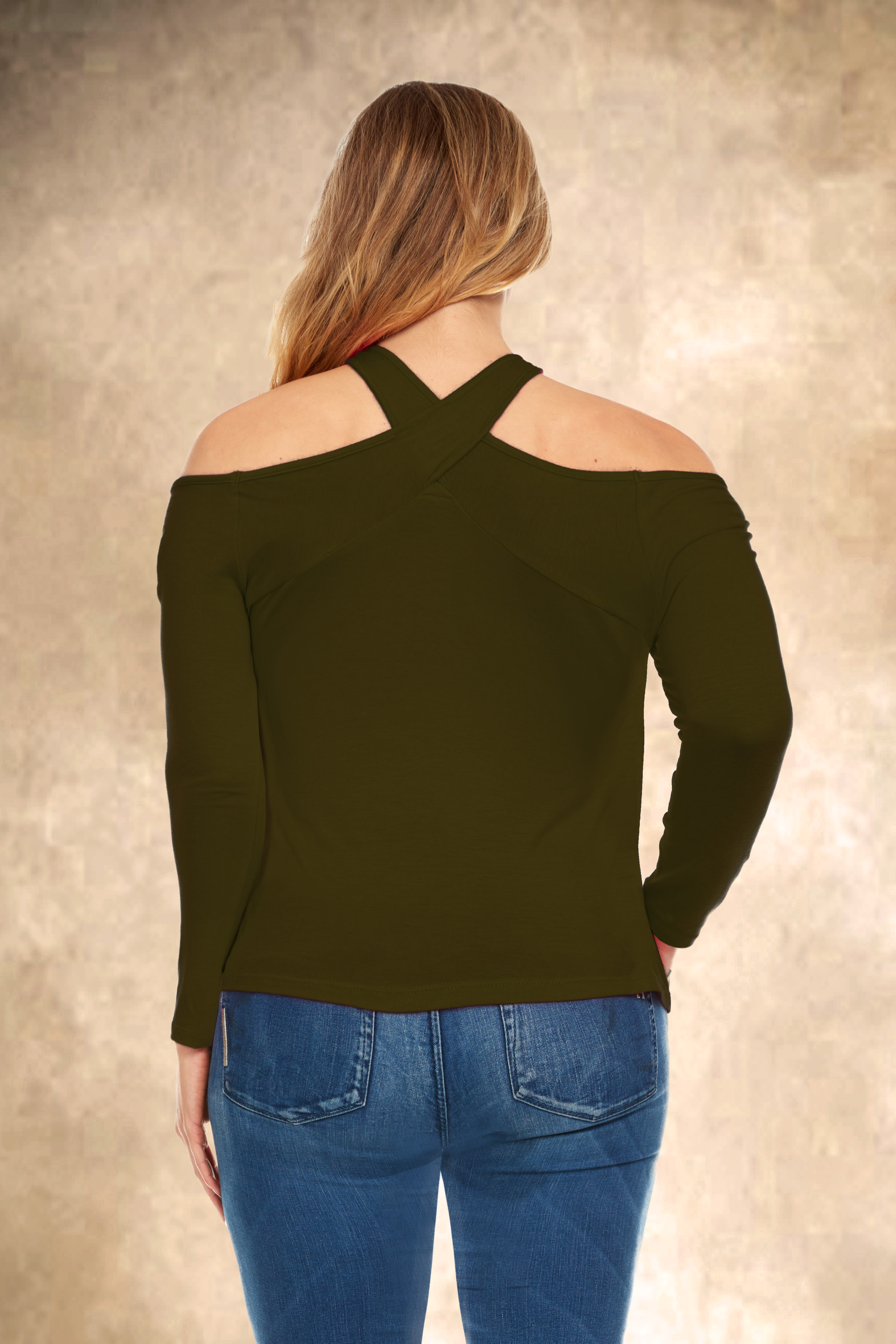 Off the Shoulder Halter Detail Top - Plus - Olive - Back