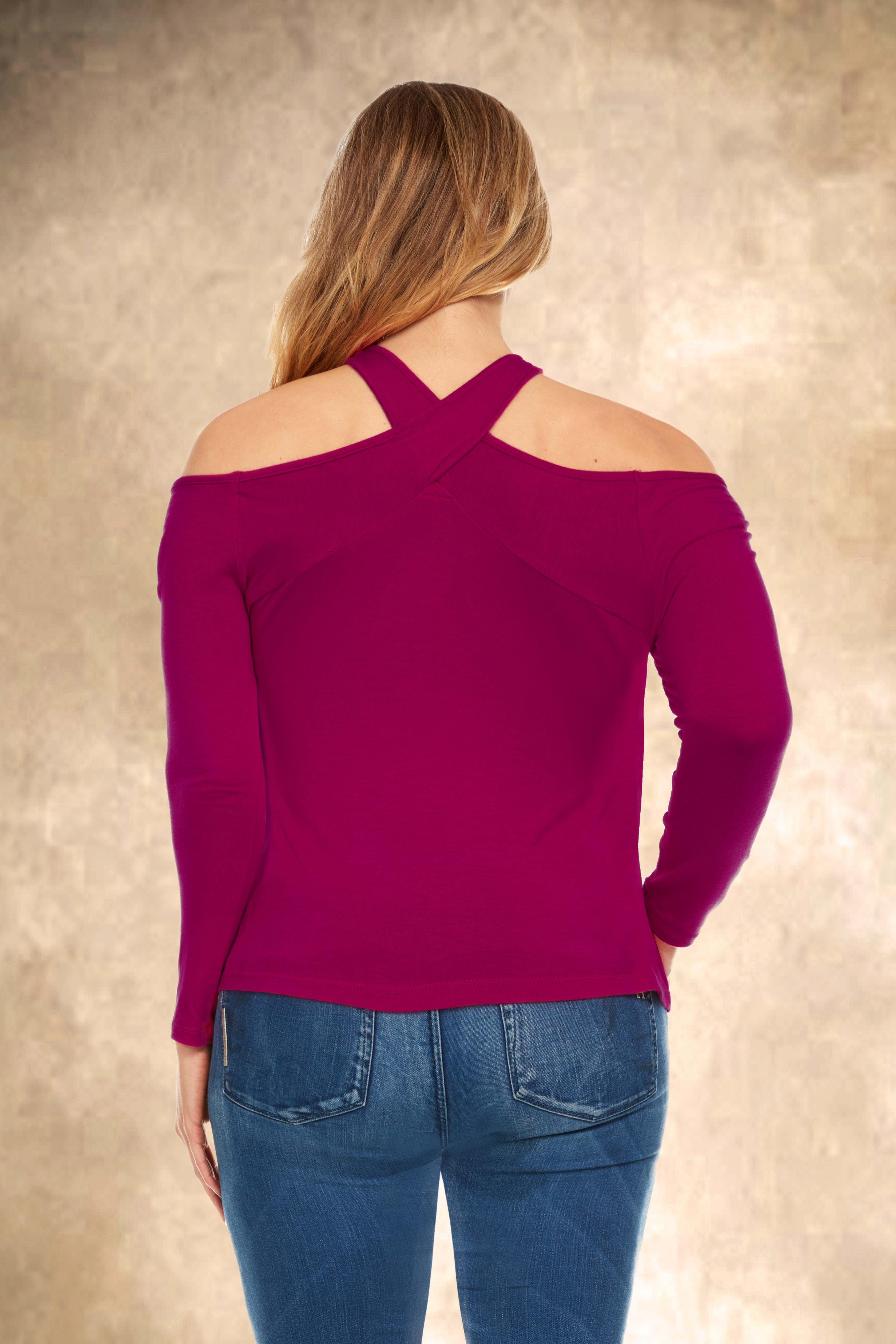 Off the Shoulder Halter Detail Top - Plus - Magenta - Back