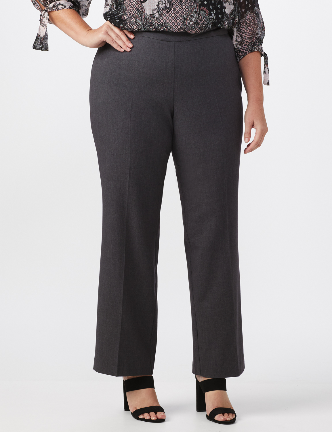 Roz & Ali Plus Secret Agent Tummy Control Pull On Pants - Average Length-Plus -grey - Front