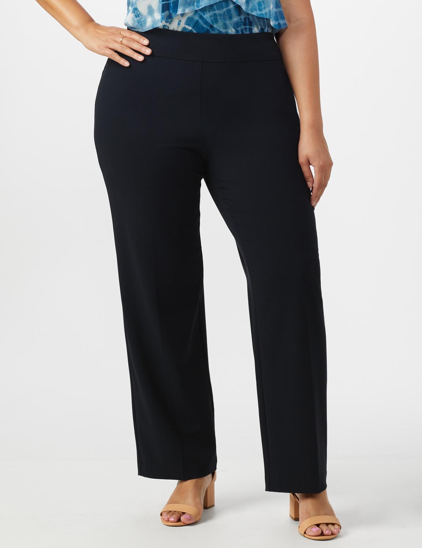 Roz & Ali Plus Secret Agent Tummy Control Pull On Pants - Average Length-Plus -navy - Front