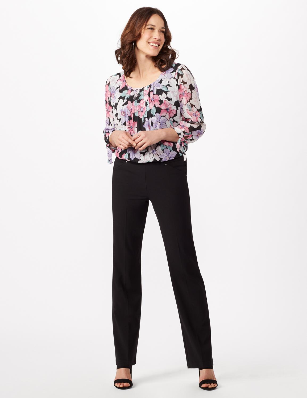 Roz & Ali Secret Agent Tummy Control Pants Cateye Rivet - Short Length - Misses -Black - Front