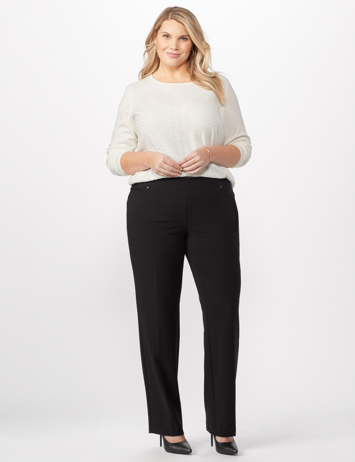 Roz & Ali Secret Agent Tummy Control Pants Cateye Rivet - Tall Length - Plus -Black - Front