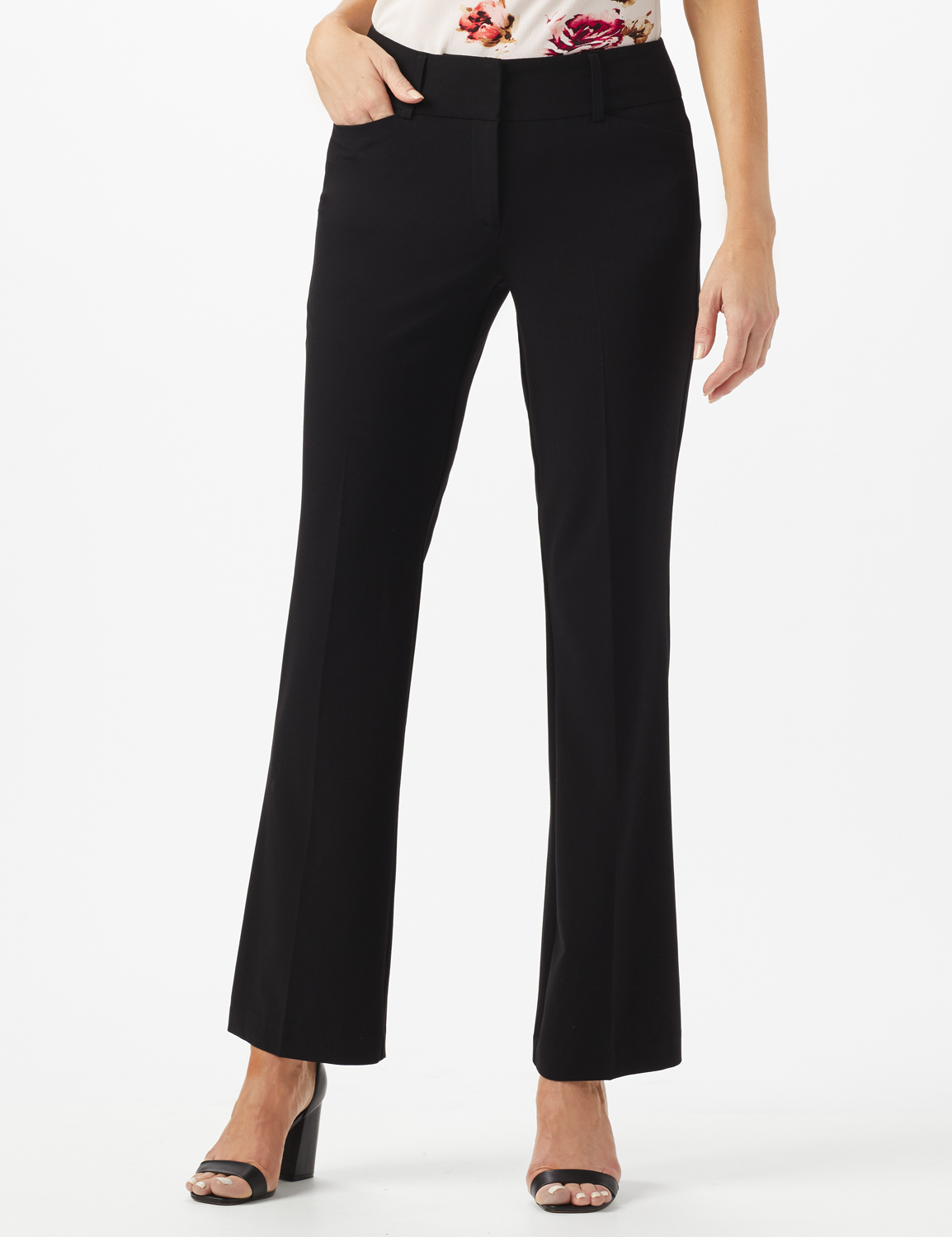 Roz & Ali  SECRET AGENT TROUSER WITH CATEYE POCKET & ZIP -Black - Front