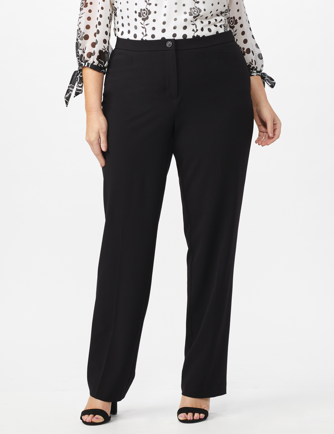 Roz & Ali  Plus Secret Agent Trouser  Pants with Cat Eye Pockets & Zip -Black - Front