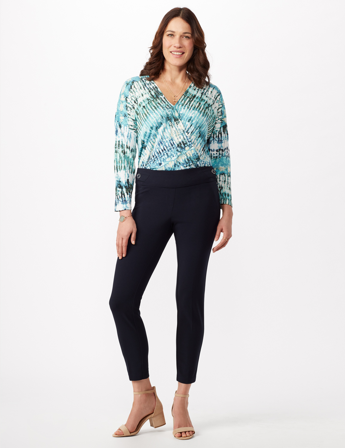 Solid Button Tab  Pull On Pants -Navy - Front