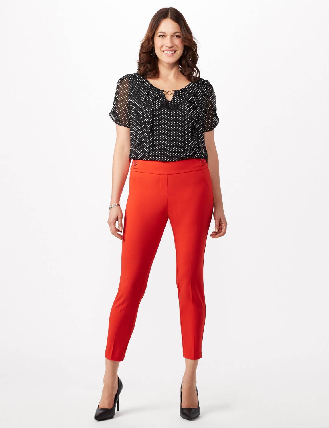 Solid Button Tab  Pull On Pants -Tomato - Front