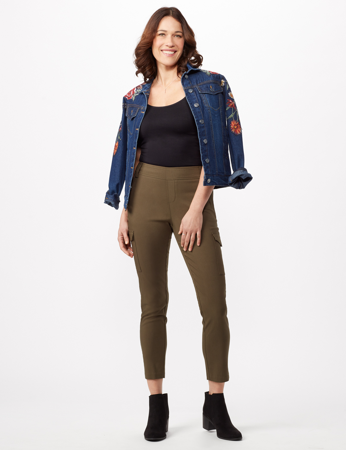 Skinny Cargo Pant -Olive - Front