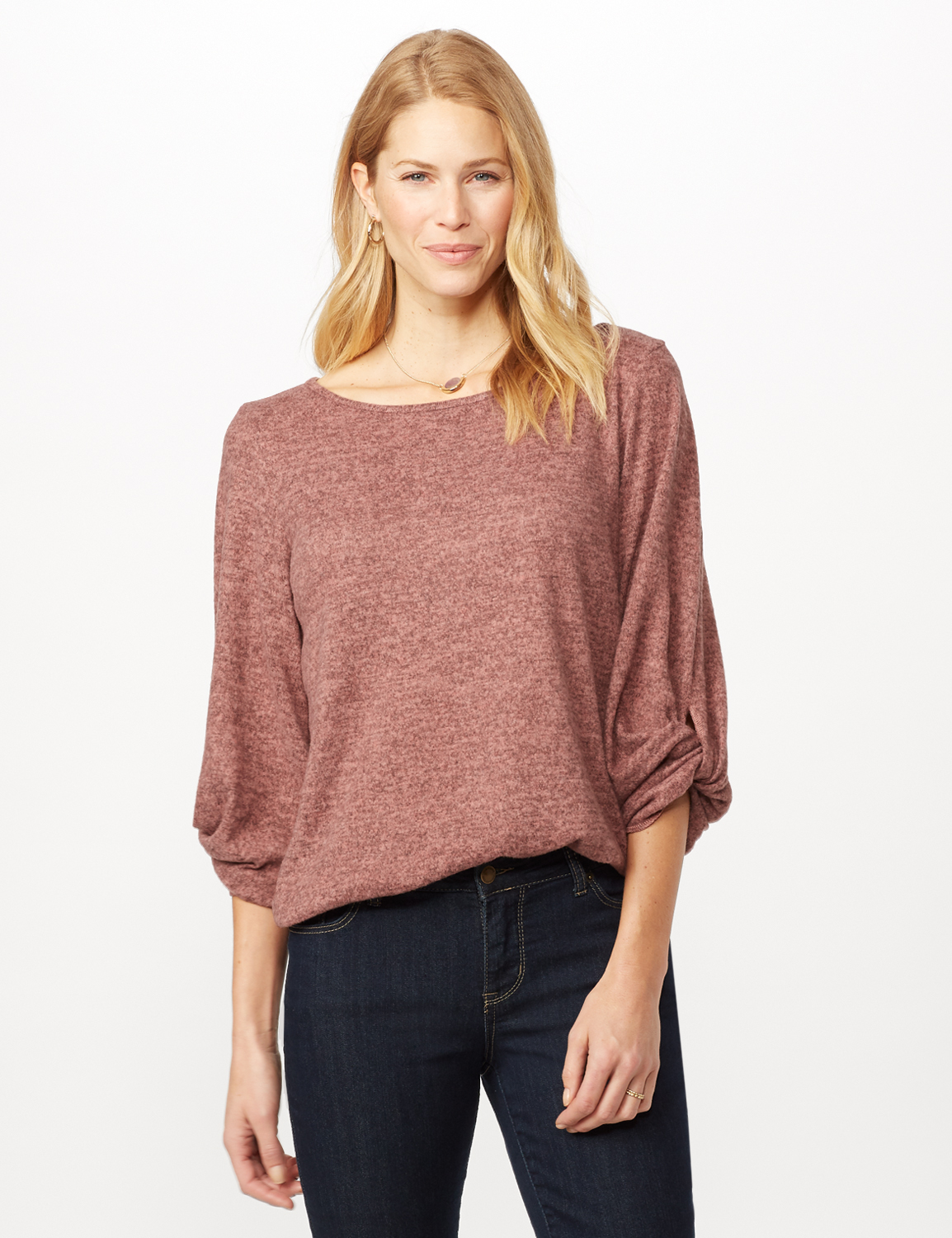 Twist Sleeve Scoop Neck Hacci with Shirttail -Rose - Front