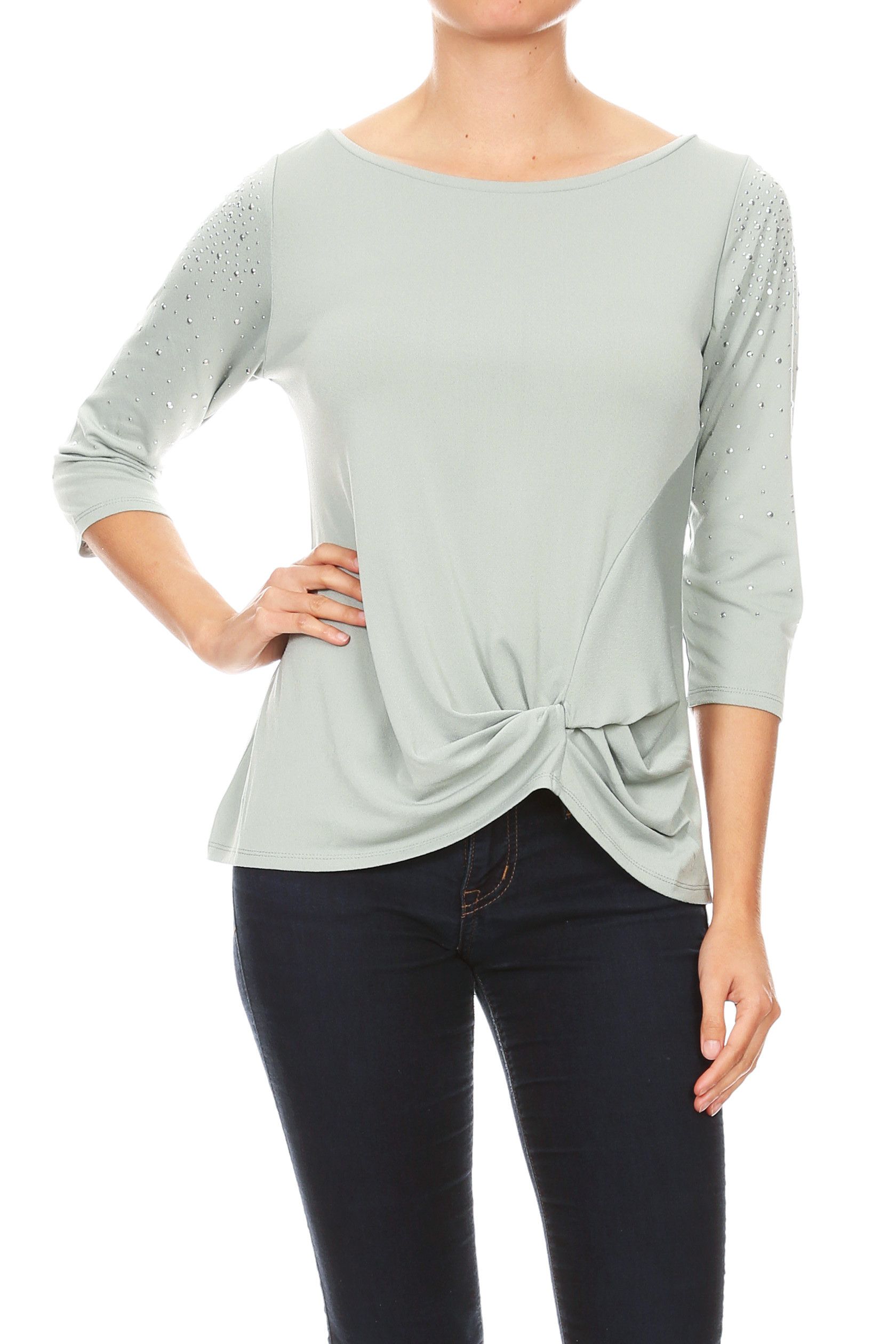 Stud Sleeve Crew Neck Knit Top with Side Knot - Sage/Silver - Front