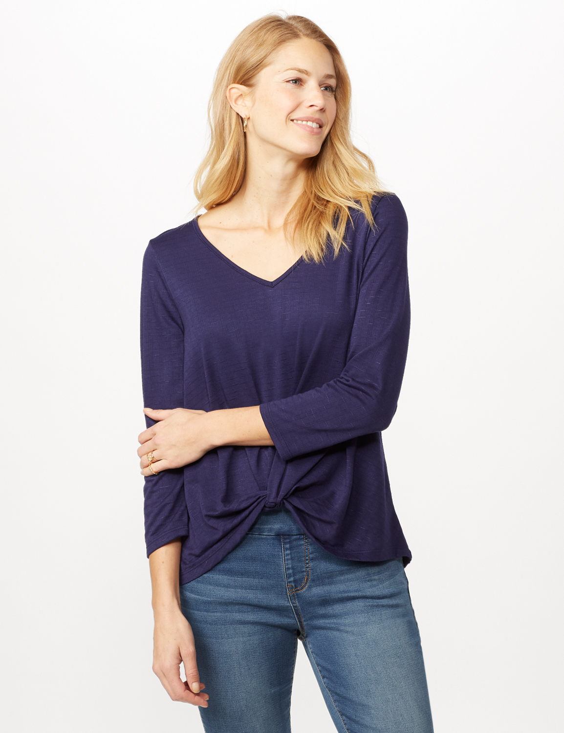 V-Neck Textured Knot Top - Navy - Front