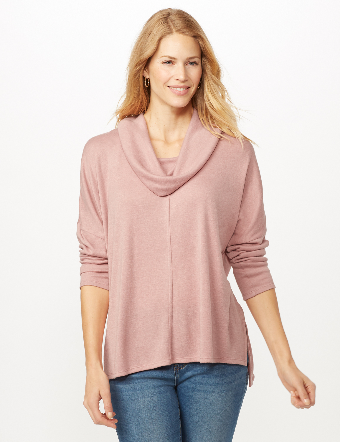 Cowl Neck Hi-Low Knit Top - Dusty Rose - Front