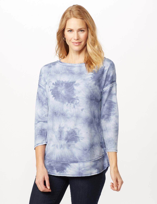 Drop Shoulder Tie Dye Hi-Lo Knit Top - Blue - Front